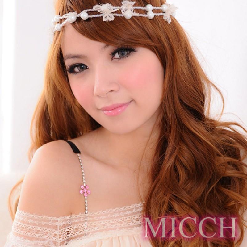 【MICCH】櫻桃紅幸運花閃耀捷克鑽石肩帶*百搭黑織帶*