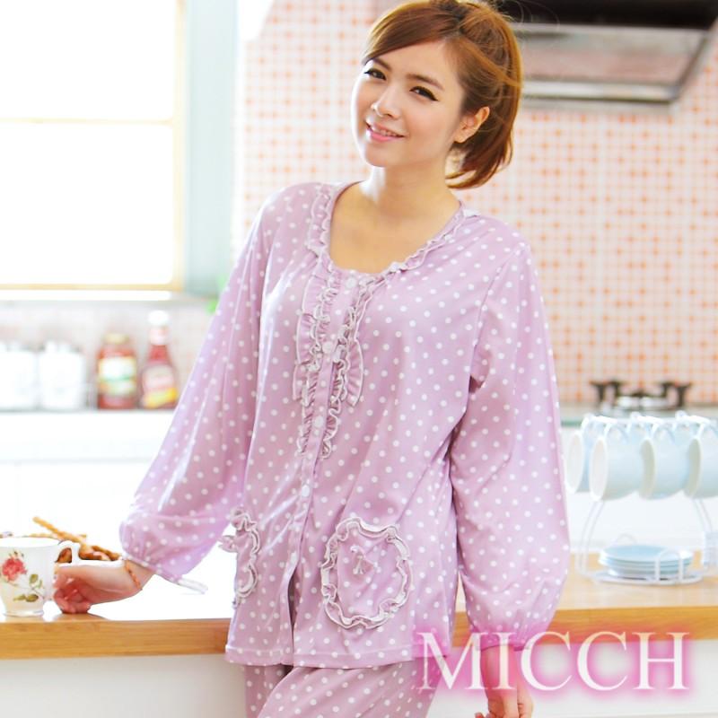 【MICCH】柔美綽約 輕盈透氣滿點粉紫系褲裝組