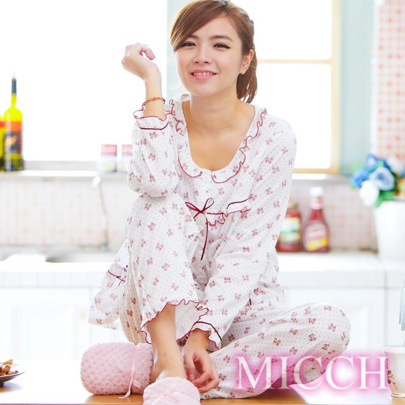 【MICCH】悠然怡居 蝴蝶結印花睡衣褲裝組