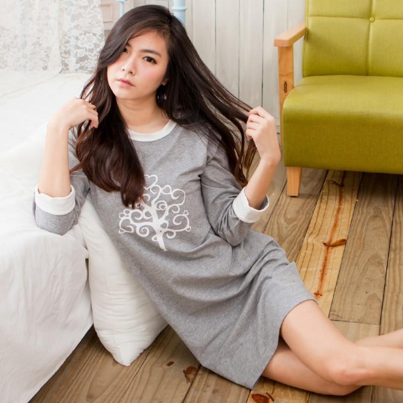 MICCH 茁壯的心 寬鬆休閒風 心樹七分袖裙裝