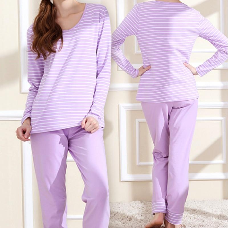 MICCH 簡單好動 條紋配色長袖居家休閒褲組