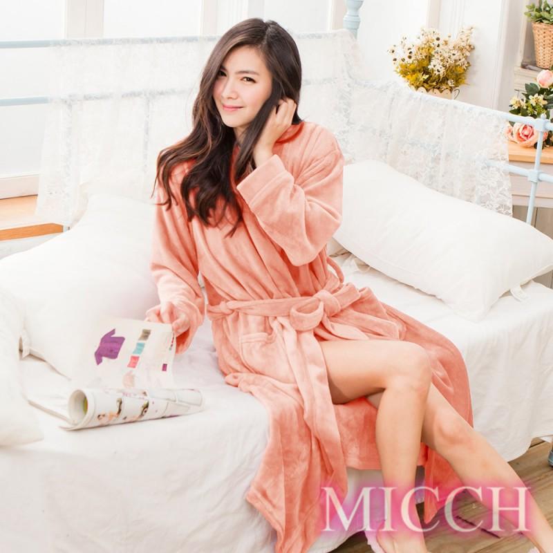 MICCH 溫暖加倍 加厚再升級 法蘭絨睡袍/浴袍/男女適用*柔情粉*