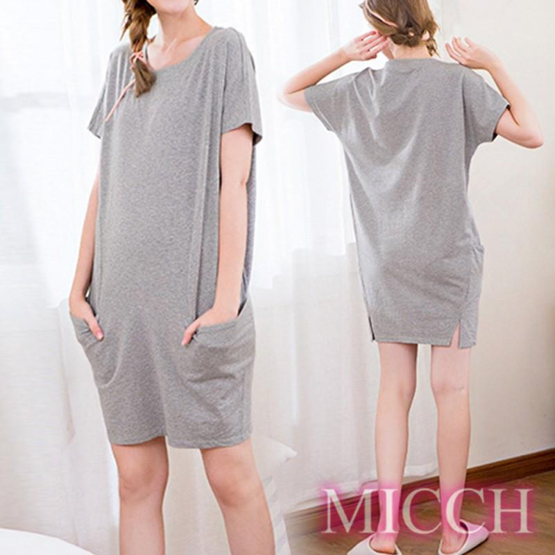 MICCH Basic動靜之間 素雅棉質小開岔短袖休閒連身裙*灰色