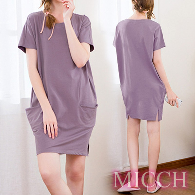 MICCH Basic動靜之間 素雅棉質小開岔短袖休閒連身裙*紫色