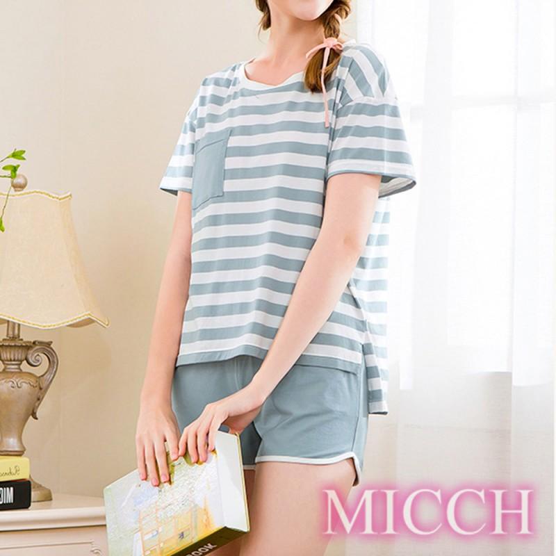 MICCH 青春印象 條紋棉質休閒短袖短褲套組*青色