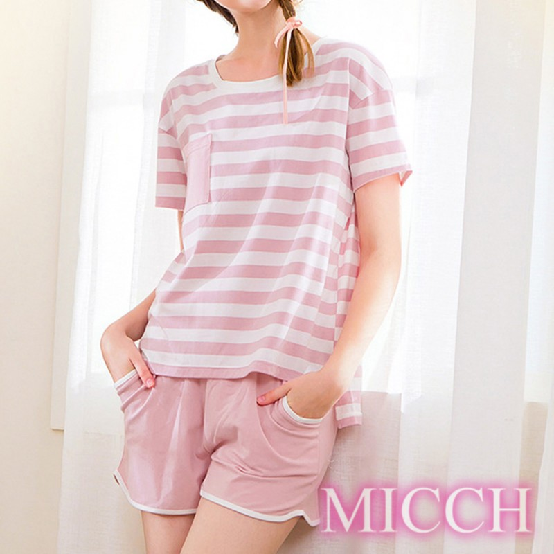 MICCH 青春印象 條紋棉質休閒短袖短褲套組*粉色