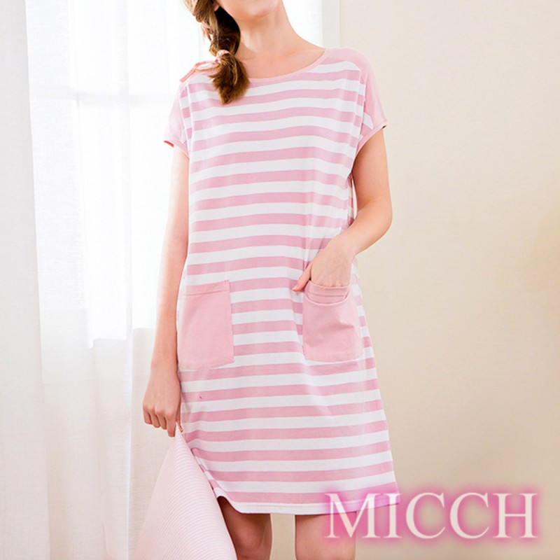 MICCH 青春印象 條紋棉質短袖連身裙洋裝