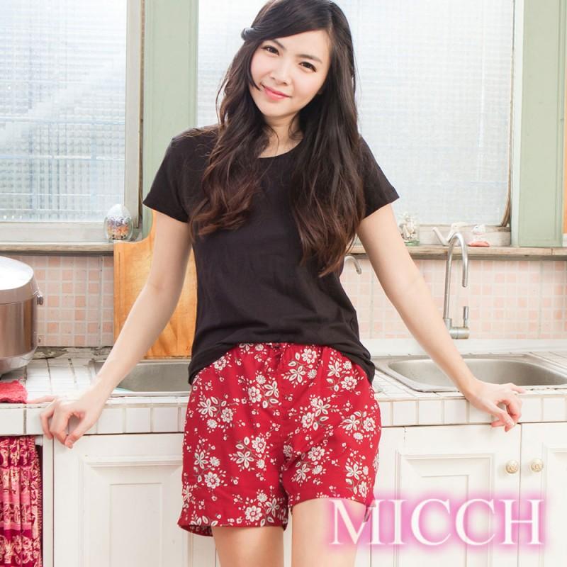 MICCH 涼夏輕薄透氣 嫘縈棉柔 MIT休閒短褲(知性情深)