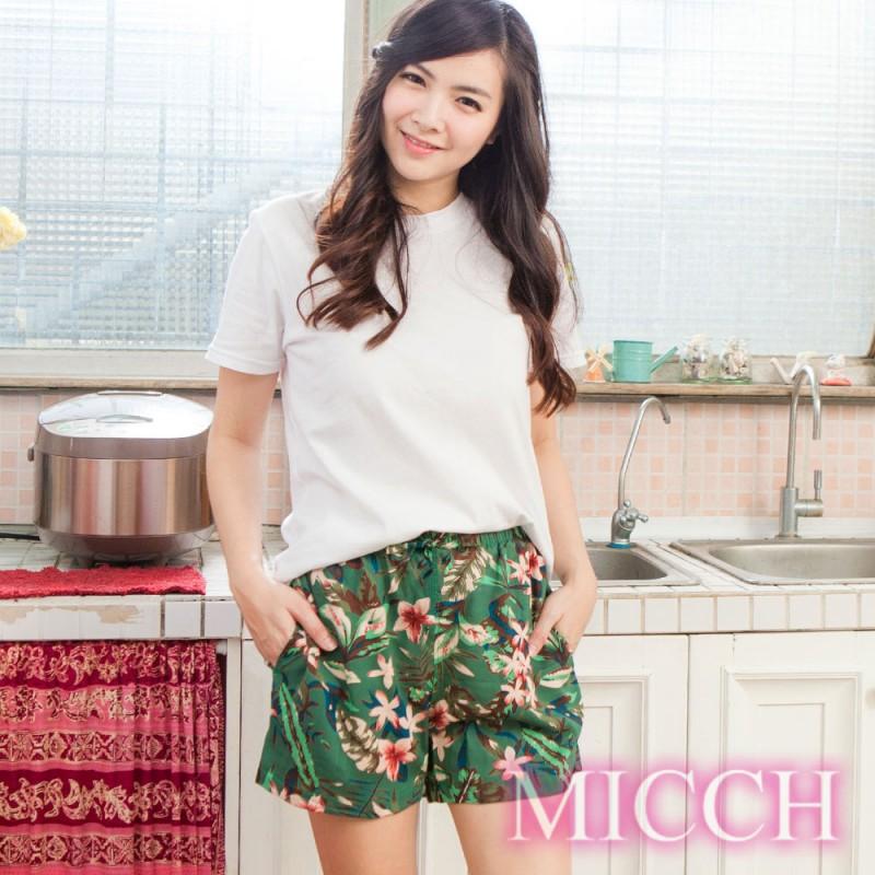 MICCH 涼夏輕薄透氣 嫘縈棉柔 MIT休閒短褲(盛夏花彩)