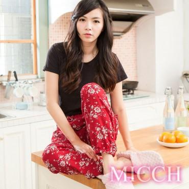 MICCH 涼夏輕薄透氣 嫘縈棉柔垂墜風 MIT休閒長褲(知性情深)