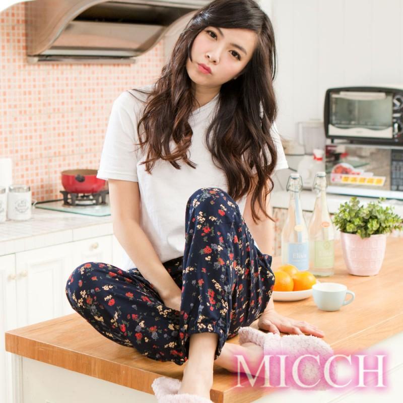 MICCH 涼夏輕薄透氣 嫘縈棉柔垂墜風 MIT休閒長褲(恬靜絮語)