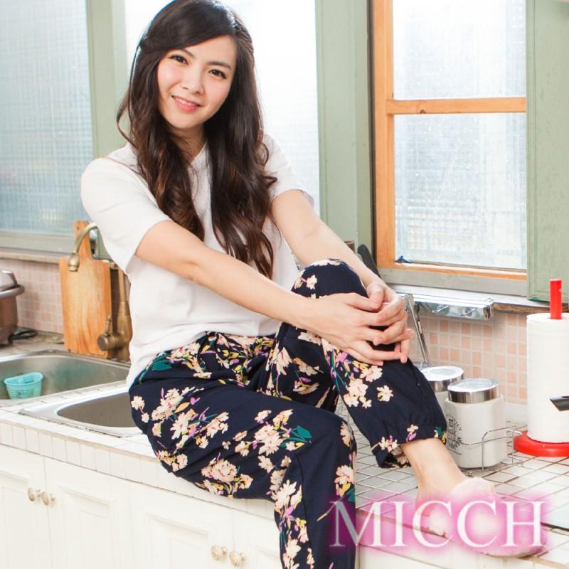 MICCH 涼夏輕薄透氣 嫘縈棉柔垂墜風 MIT休閒長褲(清雅悠然)