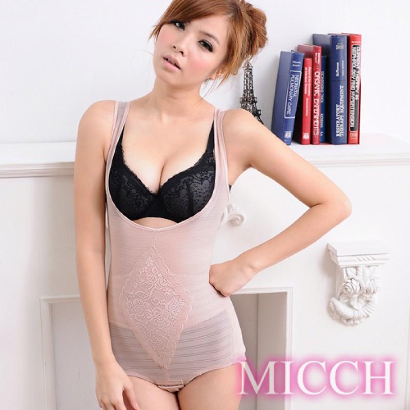 MICCH 420丹彈力舒適機能防駝連身束衣*粉膚色*