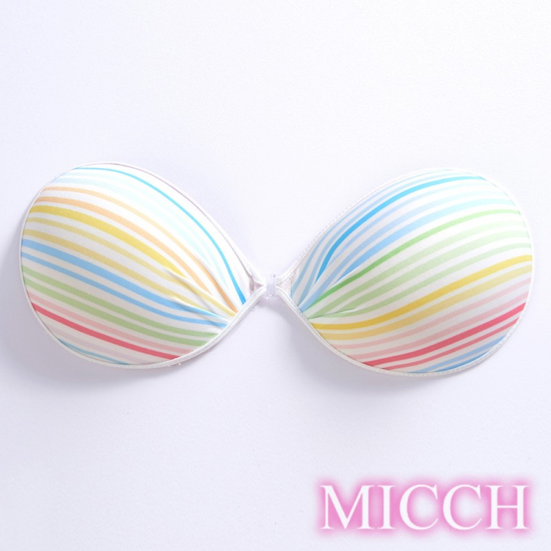 MICCH *台灣製*漾彩美型 隱形胸罩(029彩虹細條紋)