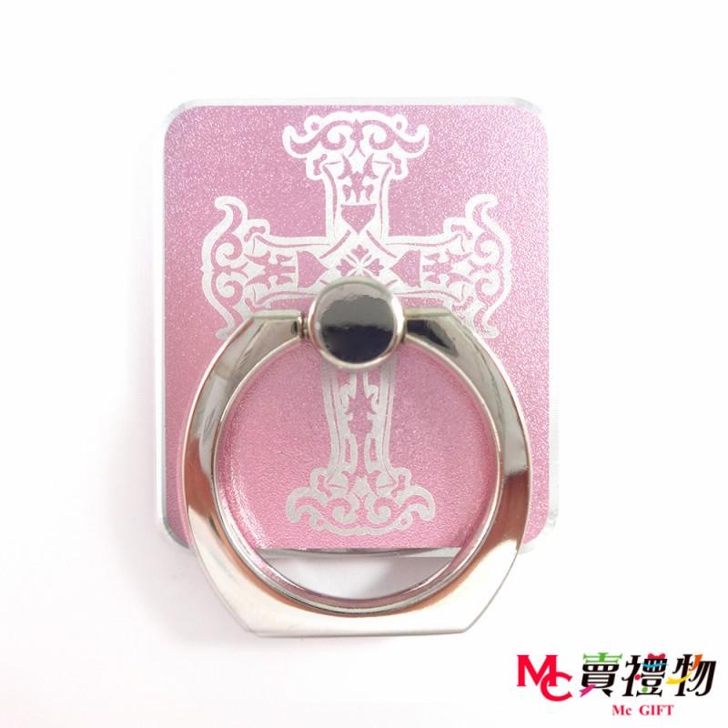 Mc賣禮物-手機扣環/指環支架-雕刻款-十字 粉色 (贈車用掛勾)