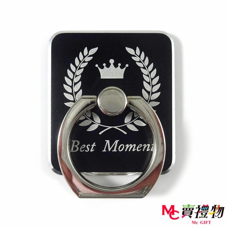 Mc賣禮物-手機扣環/指環支架-雕刻款-冠穗 黑色 (贈車用掛勾)