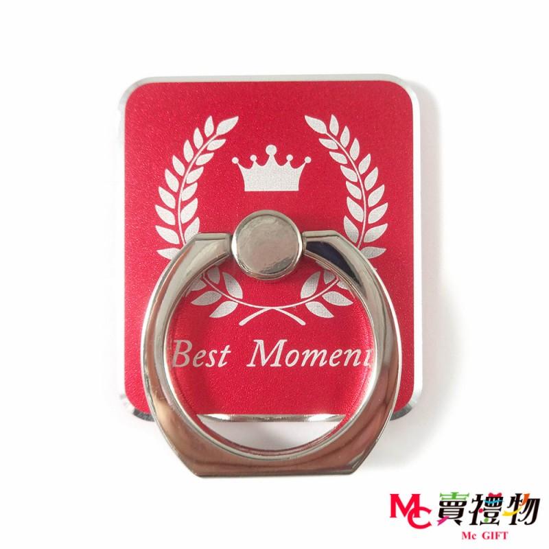 Mc賣禮物-手機扣環/指環支架-雕刻款-冠穗 紅色 (贈車用掛勾)