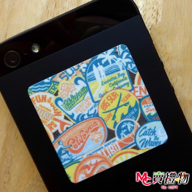 Mc賣禮物-MIT手機螢幕擦拭貼經典尺寸(1片)-加州衝浪【W41024】