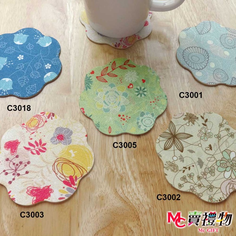 Mc賣禮物-MIT矽晶止滑吸水杯墊(2入)/盒-花線1【C3001】
