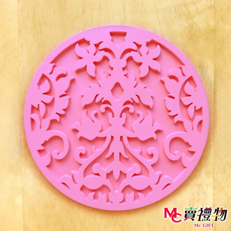 Mc賣禮物-MIT 蕾絲雕花 防滑杯墊 粉色