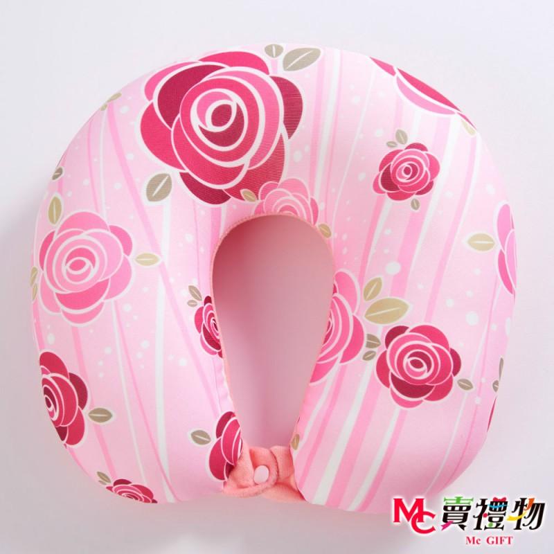 Mc賣禮物-MIT超微粒科技U型頸枕-粉嫩玫瑰【P1014U】