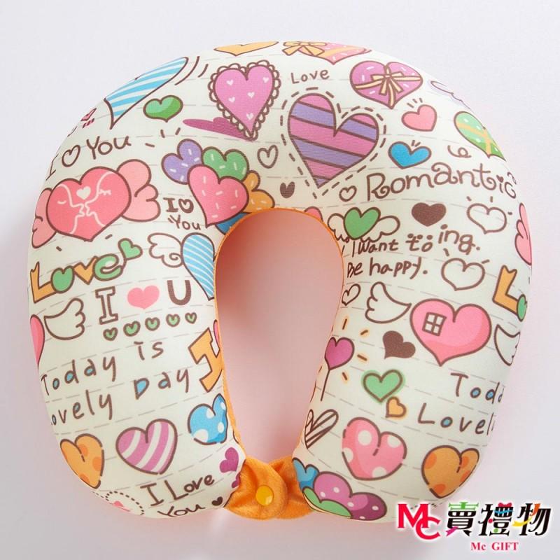 Mc賣禮物-MIT超微粒科技U型頸枕-可愛塗鴉【P1015U】